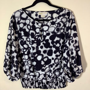Michael Kors 100% Silk Abstract Print Crop Blouse